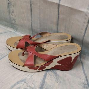 Indigo cream & red hibiscus heeled sandals 11M